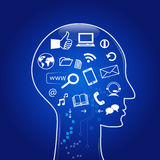 Social media in mind. Human head silhouette with social media symbols Royalty Free Stock Photography
