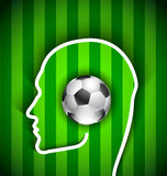 Human head with soccer ball - supporters Royalty Free Stock Image