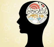 Human head with social media in brain  illustration Stock Photography
