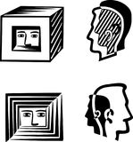 Human head in a square or split in their shadow. Human head in a square or split in their scado in Royalty Free Stock Photos