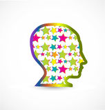 Human head with stars background Royalty Free Stock Images