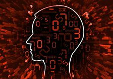 Human Head and stream of red digital numbers. Illustration of stylized male head with red numbers symbolizing business failure vector illustration