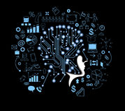 Human head and symbolize thinking. Lines and dots form the human head and symbolize thinking, artificial intelligence. Man surrounded by doodles icons. Vector Stock Image