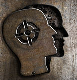 Human head with target mark on metal Royalty Free Stock Photography
