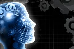 Human head and technology background Royalty Free Stock Images