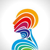 Human head thinking. making from multicolor Stock Photo