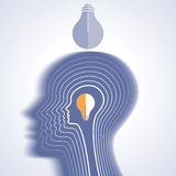 Human head thinking a new idea with power Royalty Free Stock Images