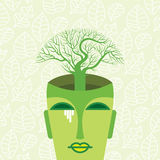 Human head with tree, think green concept Stock Photos
