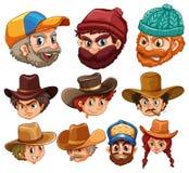 Human head wearing hats Stock Photography