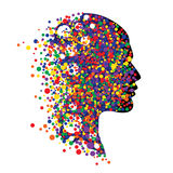 Human head  on white. Abstract vector illustration of face  with colorful circles Royalty Free Stock Photo