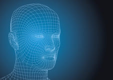 Human head wireframed futuristic style Stock Photography