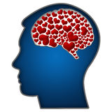 Human Head With Hearts In Brain Royalty Free Stock Photos