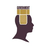 Human head with word government flat icon. Royalty Free Stock Image