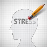 Human head with the word stress. Psychotherapist and antidepress Royalty Free Stock Photo