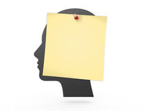Human Head and Yellow Sticky Post Stock Photos