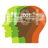 Human Heads with binary codes Stock Images