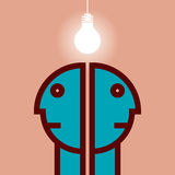 Human heads with Bulb, Business concept Royalty Free Stock Photo