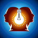 Human heads with Bulb symbol Business concepts Stock Photography