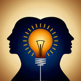 Human heads with Bulb symbol Business concepts Royalty Free Stock Photos