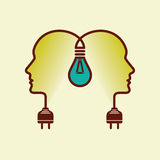 Human heads with Bulb symbol Business, concepts Royalty Free Stock Image