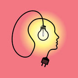 Human heads with Bulb symbol Business ; concepts Stock Images