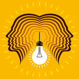 Human heads with Bulb symbol Business concepts Stock Image