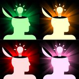 Human heads with lamps Royalty Free Stock Image