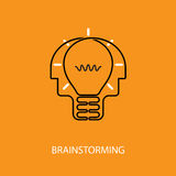 Human heads and light bulb icon.Creative mind logo.Creative grou. P logo.Brain.Creative mind.Man head and people symbol.Concept of brainstorming,business Royalty Free Stock Photos