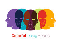 Human heads silhouettes. Group of people talking, working together. Concept illustration royalty free illustration
