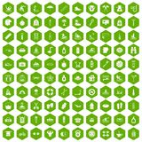 100 human health icons hexagon green. 100 human health icons set in green hexagon isolated vector illustration Royalty Free Stock Photo