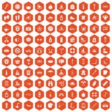 100 human health icons hexagon orange. 100 human health icons set in orange hexagon isolated vector illustration Royalty Free Stock Photo
