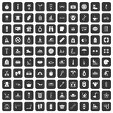 100 human health icons set black. 100 human health icons set in black color isolated vector illustration Royalty Free Stock Images