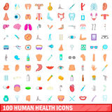 100 human health icons set, cartoon style. 100 human health icons set in cartoon style for any design vector illustration Royalty Free Stock Photos
