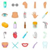 Human health icons set, cartoon style Royalty Free Stock Images