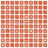 100 human health icons set grunge orange. 100 human health icons set in grunge style orange color isolated on white background vector illustration Stock Photography