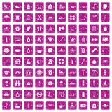 100 human health icons set grunge pink. 100 human health icons set in grunge style pink color isolated on white background vector illustration Royalty Free Stock Images