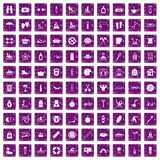 100 human health icons set grunge purple. 100 human health icons set in grunge style purple color isolated on white background vector illustration Stock Illustration