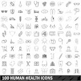 100 human health icons set, outline style Stock Photo