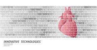 Human heart anatomical medicine shape. Doctor online binary code information data flow innovative technology vector. Illustration art vector illustration