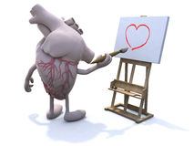 Human heart with arms and legs painter Stock Images