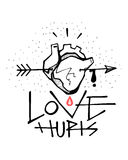 Human heart, arrow and Love hurts phrase Royalty Free Stock Images