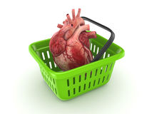 Human heart in a basket. vector illustration