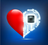 Human heart with the circuit board inside Royalty Free Stock Photo