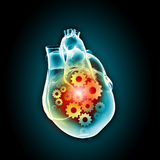 Human heart. With cog and gear mechanisms against black background vector illustration