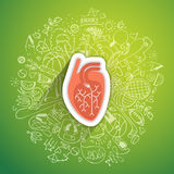 Human heart concept about healthy lifestyle and longevity with sketched elements Stock Images