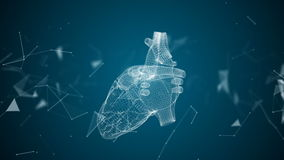 The human heart is formed by spinning particles. stock illustration