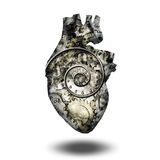 Human heart gears and time Stock Photo