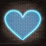 Human heart of glowing neon lights. Brick wall. Stock Vector ill Royalty Free Stock Photos