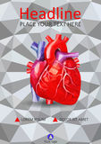 Human heart in low poly on 3d geometric texture background. Cove. Human heart in low poly on A4 cover design template. Good for medical, scientific prints Stock Images