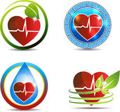 Human heart medical symbols set Stock Photos